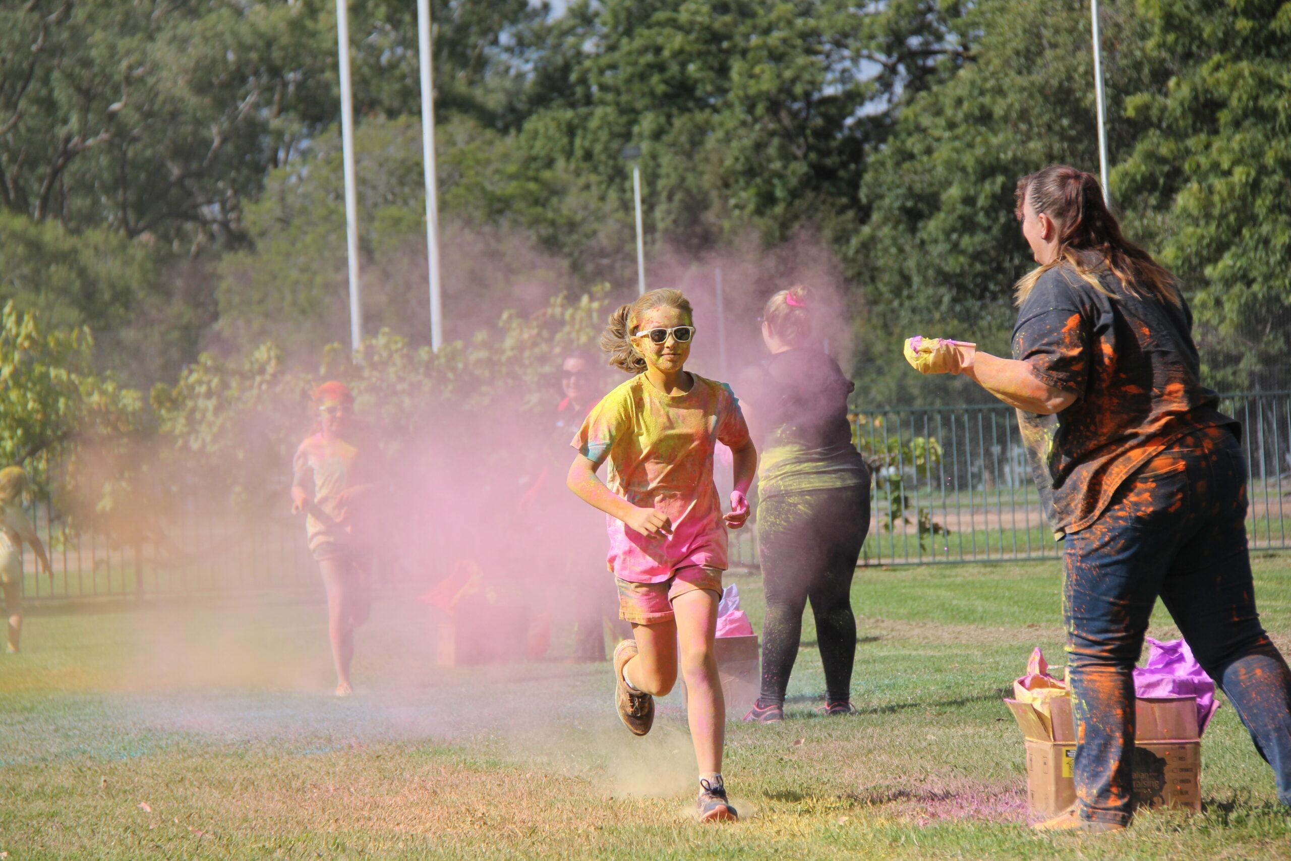 Eileen Murphy running toward Gail Wilson (NDCAS).
