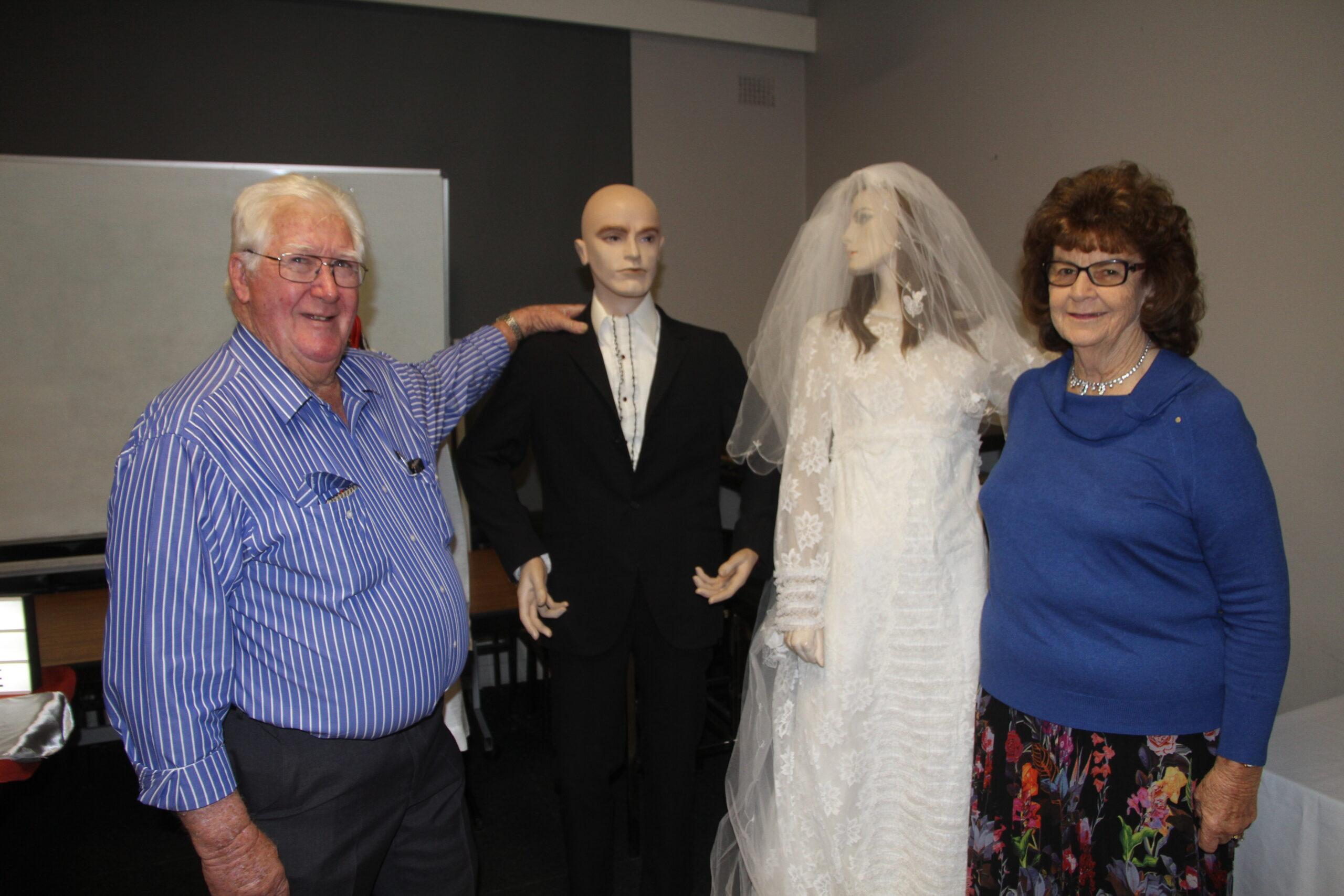Garry and Diane Burr with their original wedding outfits.