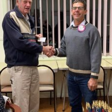 Lion Ron Boxsell, left, was presented with his Diamond Centennial award by Boggabri Lions Club president Richard Gillham.