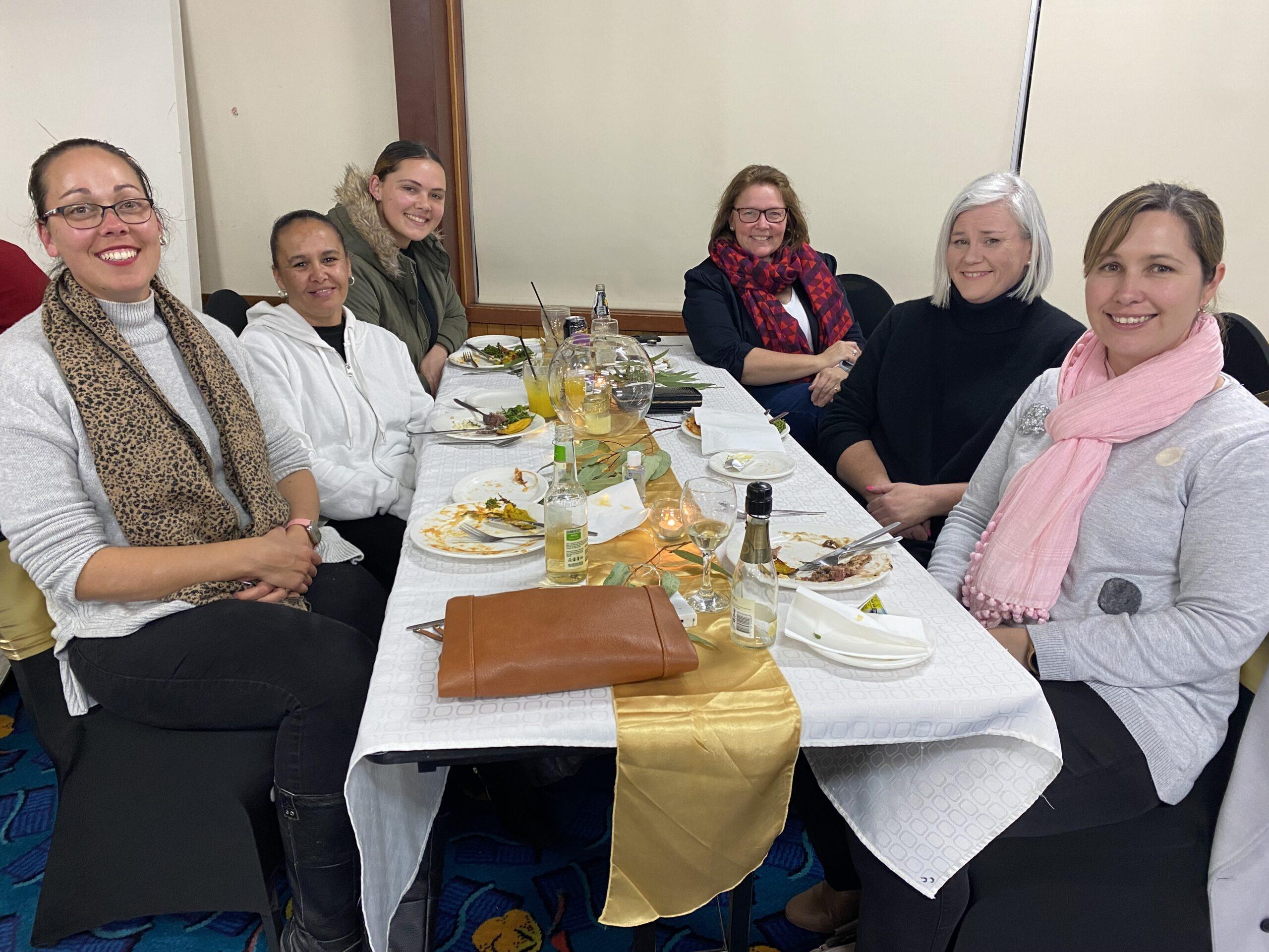 Left, Monique Soutter, Kristy Fuller and Vanessa Smallwood, right, Deanne Stanfield, Liz Webster and Karlee Hatton.
