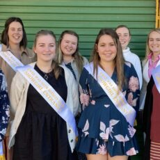 Pictured back, senior entrants Olivia Bray, Georgia Dickinson, Faith Pagett and current Wee Waa Showgirl Georgie Haire who hosted an entertaining question and answer session at the luncheon, front, junior entrants Tanika Slee, Amelia Kiem, Acacia Bell and Caitlyn Coutts-Smith.