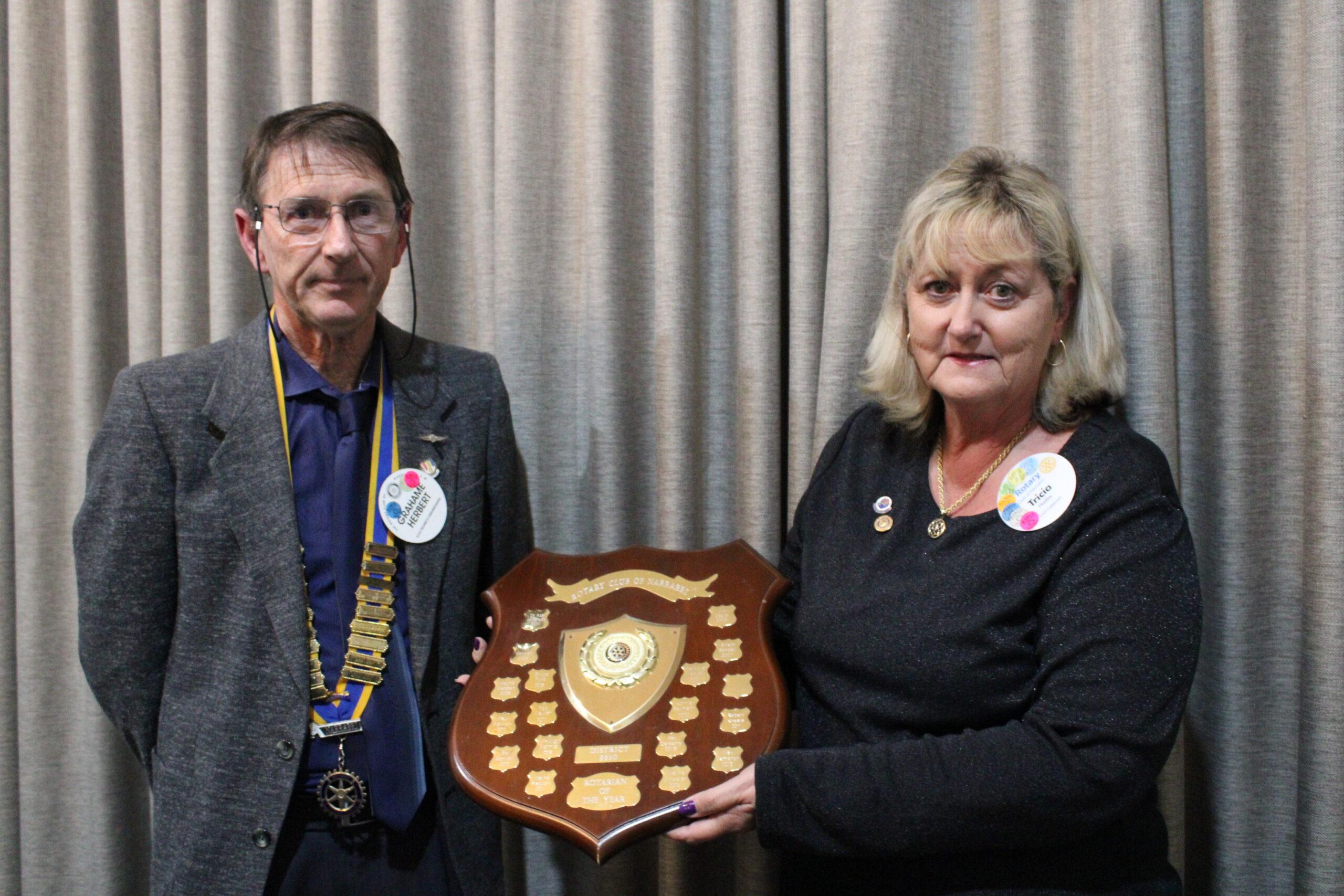 ROTARIAN OF THE YEAR: Grahame Herbert named Tricia Hadley as the Rotarian of the Year.