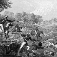 'Mounted Police and Blacks', an 1852 lithograph by WL Walton, depicting the killing of Aboriginal warriors at Waterloo Creek by colonial police troopers.