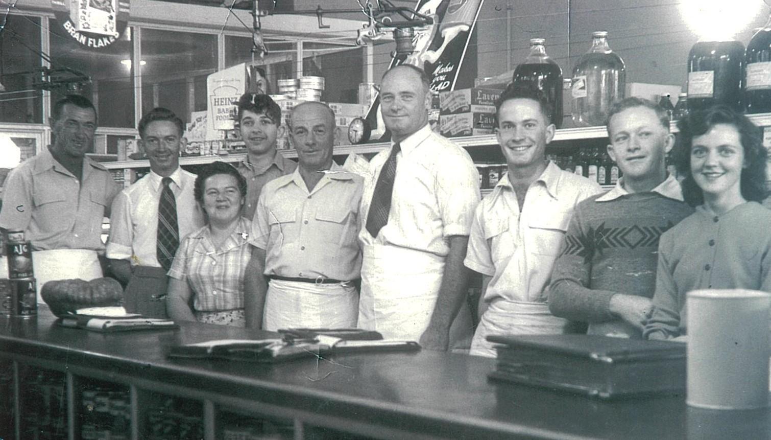Foxe's staff, approximately 1950-51: Ray Eather, Dennis Smith, Pat Hedley, John Bridges, Byron Jones, Jack Cherry, Noel Alexander (Boyce'sbrother) Ron McNamara and Margaret Eather.