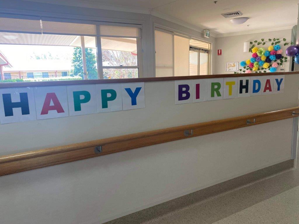 'Happy Birthday' sign for Doris.
