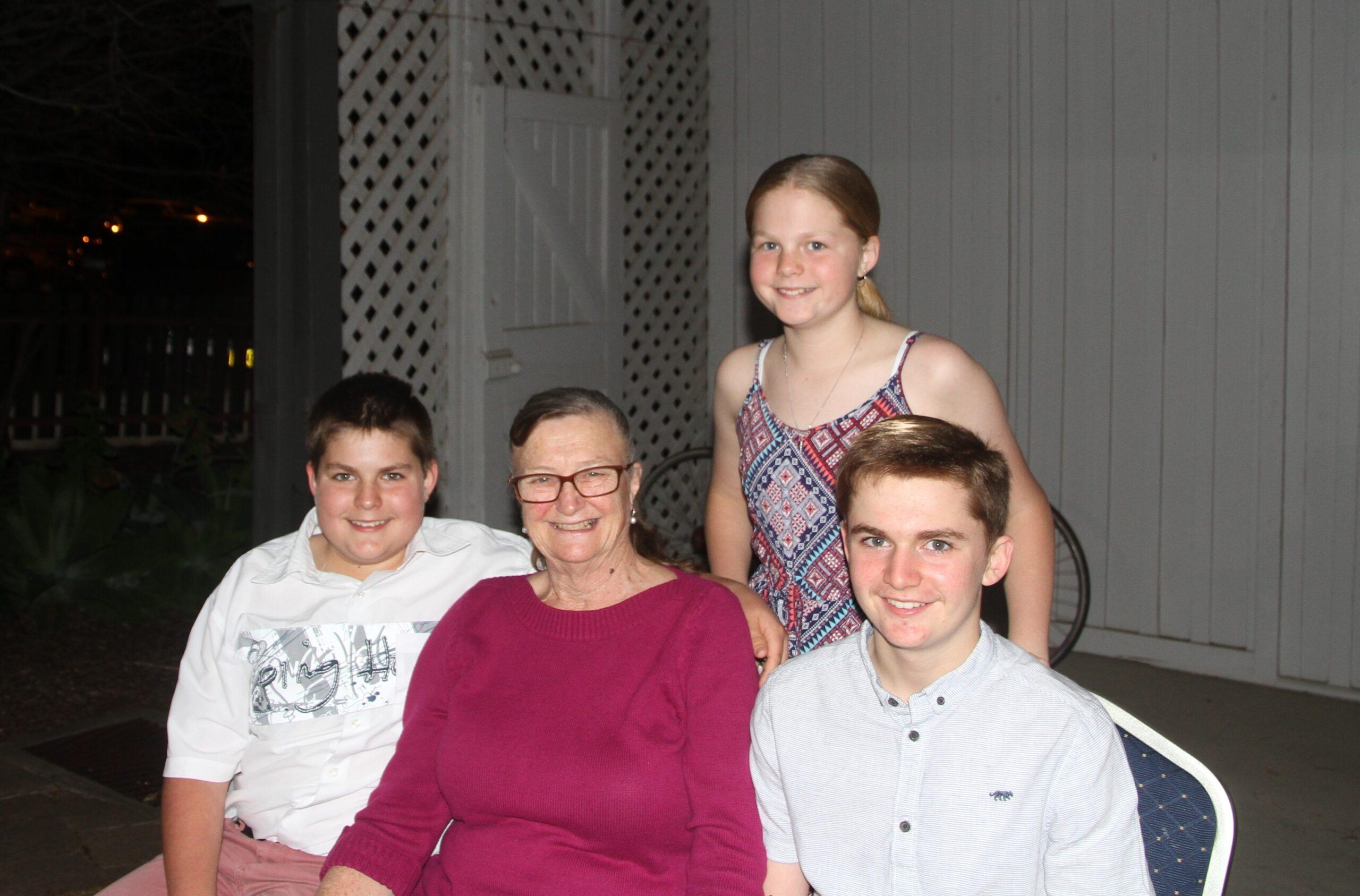 Exhibiting artist Helen Smith with her grandchildren Hunter, Daniel and Ava Smith.