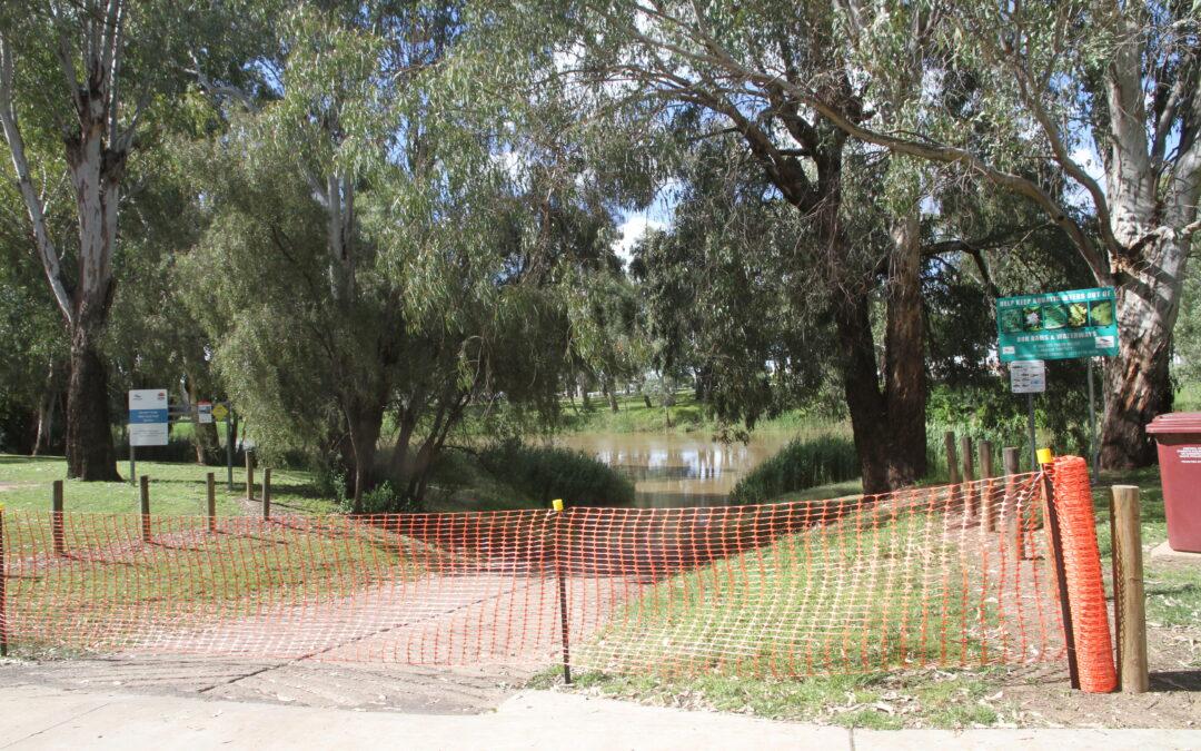 Waterway closed east of boat ramp